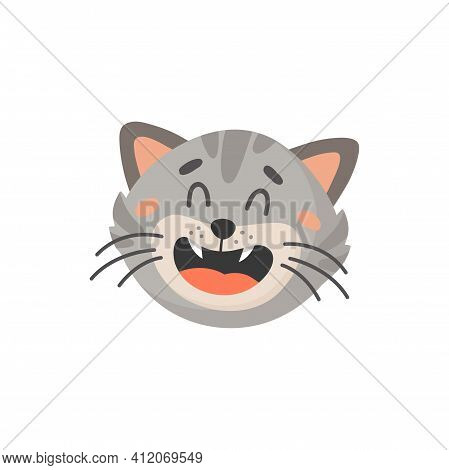 Striped Gray Cat With Open Mouth And Whiskers Isolated Cartoon Kitten Head. Vector Cute Tabby Face,