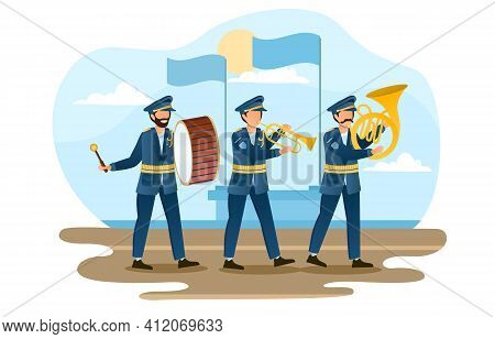 Three Male Soldiers Are Marching As A Music Band. Military Orchestra Members With Music Instruments