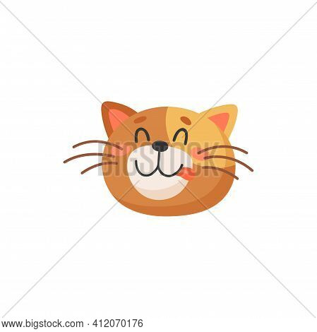 Ginger Cat Emoticon Isolated Happy Kitten Head Showing Tongue. Vector Portrait Of Smiling Kitten, He