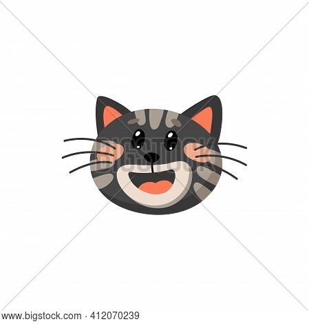 Black Cat With Open Mouth, Red Tongue And Ears Isolated Cartoon Animal Head. Vector Cute Kitty Portr