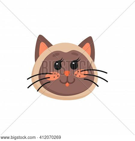 Lovely Brown Kitten Head With Pink Cheeks And Whiskers Isolated Home Pet Snout. Vector Domestic Anim