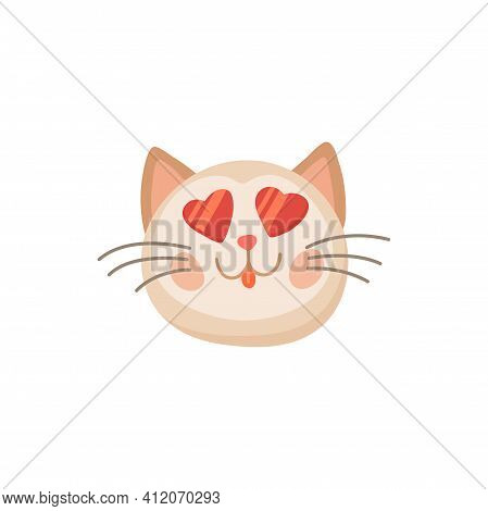 Cat Snout With Heart Shaped Eyes Isolated Cartoon Animal Head. Vector Cute Kitty Valentines Day Symb