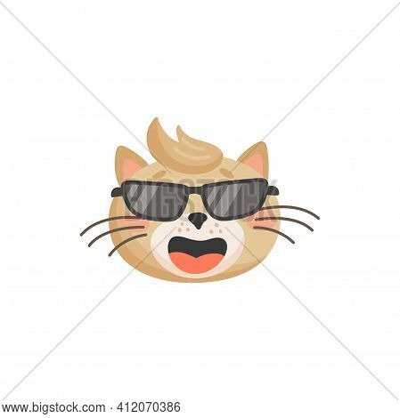Hipster Cat In Black Glasses And Forelock Isolated Beige Kitten Head. Vector Happy Laughing Cat Emot