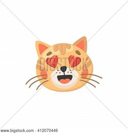 Lovely Cat With Hearts Instead Of Eyes Isolated Cute Animal Head. Vector Adorable Kitten Snout, Vale