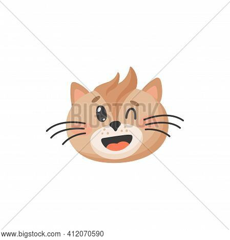Smiling Cat Winks One Eye Isolated Cute Kitten Portrait. Vector Muzzle Of Brown Cat With Forelock An