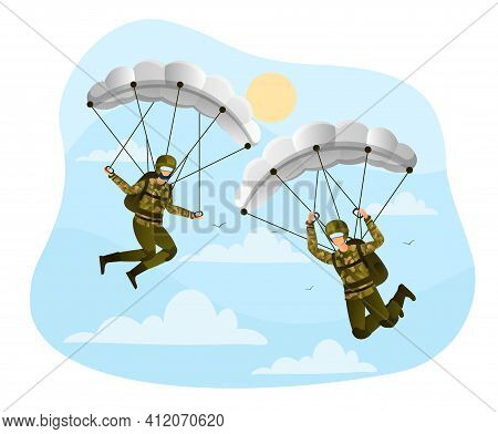 Two Male Paratroopers In A Military Uniform Are Flying With A Parachute. Men Are Coming Down To The