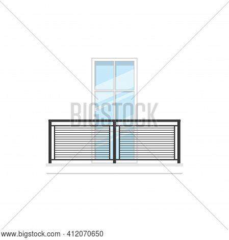 Balcony With Metal Railing And Handrails Isolated Fence And Window. Vector Balustrade And Doorway, B