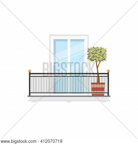 Spanish Balcony With Lemon Or Orange Tree Growing In Pot, Metal Balustrade Or Railing. Vector Reside