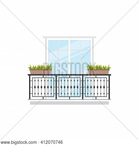 Balcony Summer Terrace With Green Plants In Pots, Forged Balustrade And Handrails Isolated. Vector O