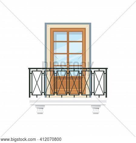 Balcony With Metal Railing Or Balustrade Isolated Home Facade Construction. Vector Balcony Of House