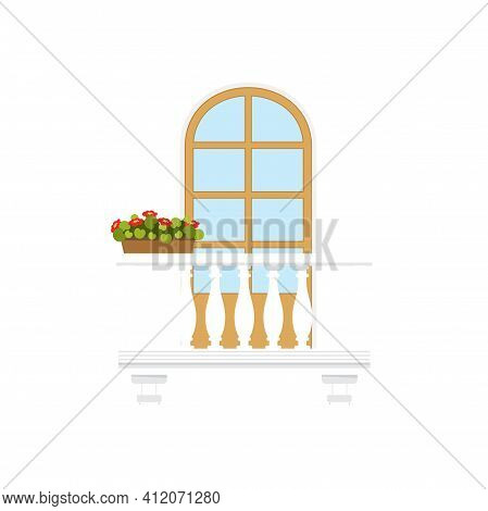 Arched Doorway At Balcony With Marble Or Stone Balustrade, Pillars And Flowers In Pots. Vector Summe