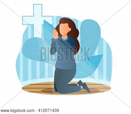 Concept Of Prayer, Blessing, Religion, Faith. Religious Young Female Character Is Standing On Knees