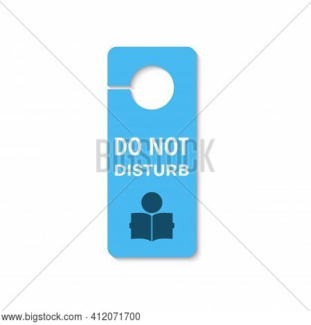 Studying, Exams Do Not Disturb Tag At Library Door Isolated Icon. Vector Keep Silence And Knock, Sch