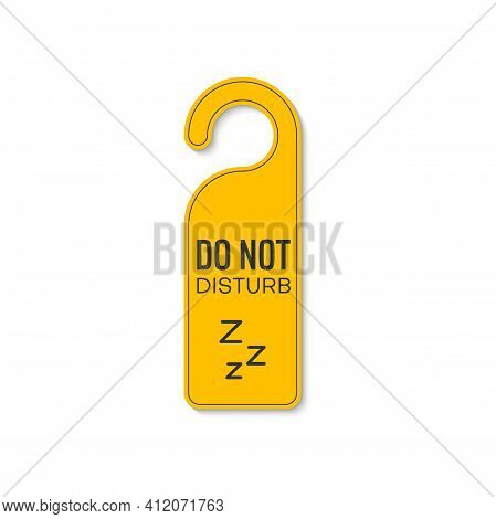 Do Not Disturb Sleeping Or Resting Sign With Zzz, Keep Silence And Quiet. Vector Door Hanger Tag, Ye