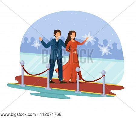 Beautiful Male And Female Character Are Walking Through Red Carpet. Rich And Famous Couple Are Photo
