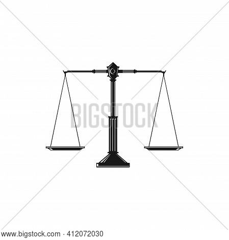 Beam Balance Weight Scales, Mass Balances Isolated Themis Judiciary Tool. Vector Equal Balances On S