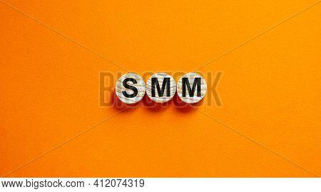 Smm, Social Media Marketing Symbol. Wooden Circles With Word 'smm - Social Media Marketing' On Beaut