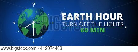 Earth Hour Illustration With Planet And Turn Off Button. Turn Off The Lights. Web Banner.