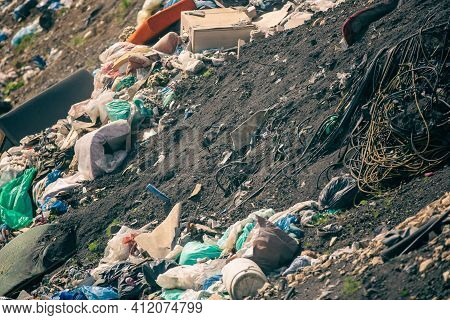 Landfill For A Household Waste, Garbage Concept, Pollution Of The Planet World