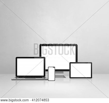 Computer, Laptop, Mobile Phone And Digital Tablet Pc - White Concrete Office Desk Background. 3d Ill