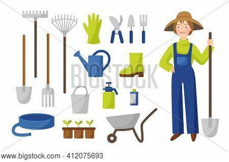Vector Collection Of Gardening Tools In Flat Style Isolated On A White Background. A Woman Gardener