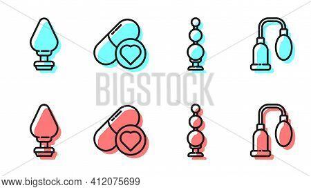 Set Line Anal Beads, Anal Plug, Pills For Potency, Aphrodisiac And Penis Pump Icon. Vector