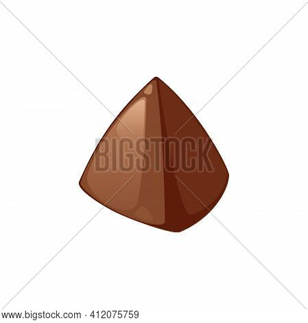 Chocolate Candy Of Pyramid Shape Isolated Sweet Food Dessert. Vector Confection Snack, Confectionery