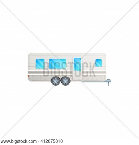 Travel Trailer Or Camper Truck Van, Rv Motorhome, Vector Icon. Camper Trailer, Recreational Van And