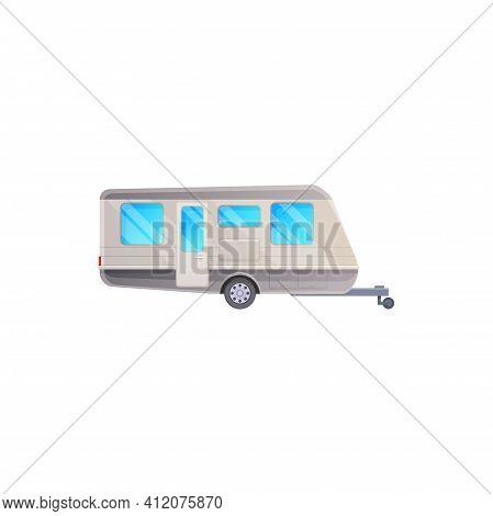 Travel Trailer Or Camper Van Caravan, Rv Caravan Vacations Vehicle, Vector Icon. Camper Trailer Van,