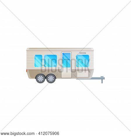 Travel Trailer Camper Van, Caravan Car, Rv Truck, Vector Vacations Motorhome Vehicle Icon. Camper Tr