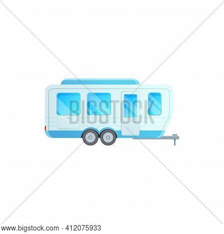 Camper Trailer Van, Travel Caravan Car Or Rv Truck, Vector Flat Icon. Travel Trailer Van Or Family R