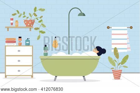 Woman Taking A Bath. The Female Character Is Relaxing In The Bathroom. Bathroom Interior. Relaxation