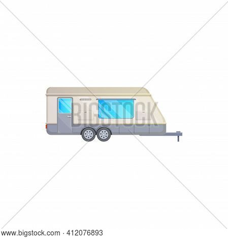 Trailer, Travel Camper Rv Caravan Truck, Vector Icon, Home Motor Van. Vacations And Travel Trailer,