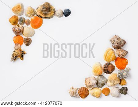 Ornament From Small Seashells On A White Background. Seashells Are Stacked At The Corners Of The Fra