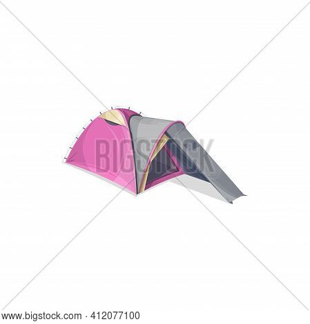 One Hall Canopy Family Tent Isolated Realistic Icon. Vector Advertising Waterproof Dome Camping Tent