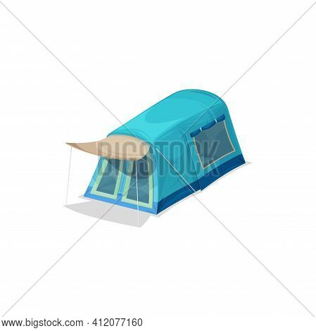 Camping Tent Isolated Hiking Shelter With Door, Window And Awning Realistic Icon. Vector Travel Marq