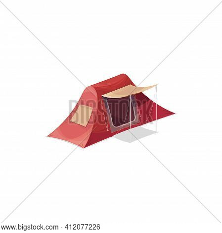 Camping Tent For Two Person With Window And Door Isolated Realistic Icon. Vector Canopy Family Tent,