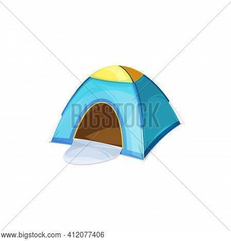Dome Shape Tourists Tent Isolated Camping House Realistic Icon. Vector Travel Picnic Campsite Awning