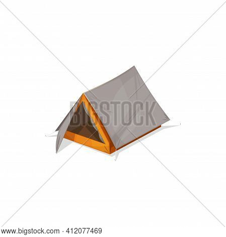 Pyramid Shape Tourists Tent Isolated Camping And Hiking Marquee Realistic Icon. Vector Travel Picnic