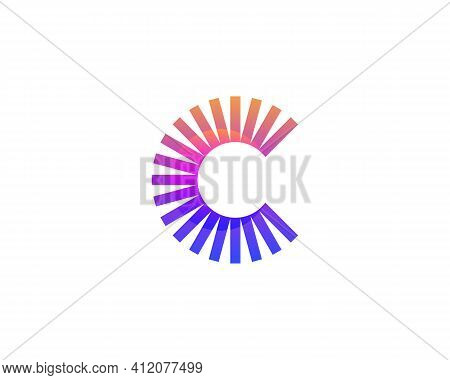 Abstract Letter C From Bright Gradient Lines, Stripes. Application Icon Logotype Design Template. Ve