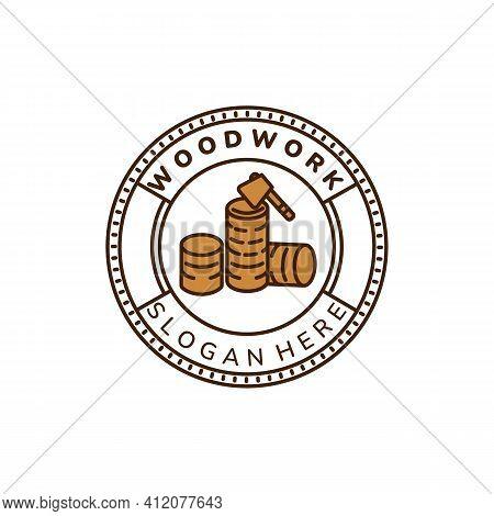 Floorer And Ax Vintage Color Emblem Logo Icon Vector Illustration Template Design.carpenter, Wood, J