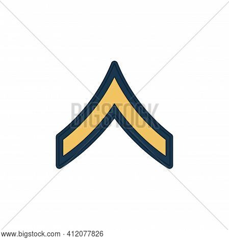 Private Enlisted Military Rank Stripe Isolated Icon. Vector United States Armed Forces Army Chevron,
