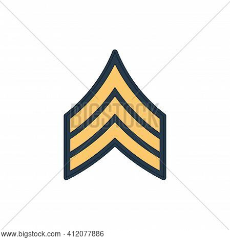 Sgt Sergeant Enlisted Military Rank Stripe Isolated Icon. Vector United States Armed Forces Army Che