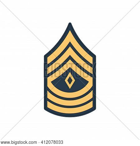 1sg First Sergeant Insignia Of Us Army Isolated Icon. Vector United States Armed Forces Chevron, Sig
