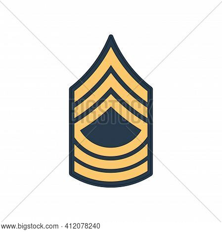 Msg Master Sergeant Insignia Of Us Army Isolated Icon. Vector United States Armed Forces Chevron, Ra