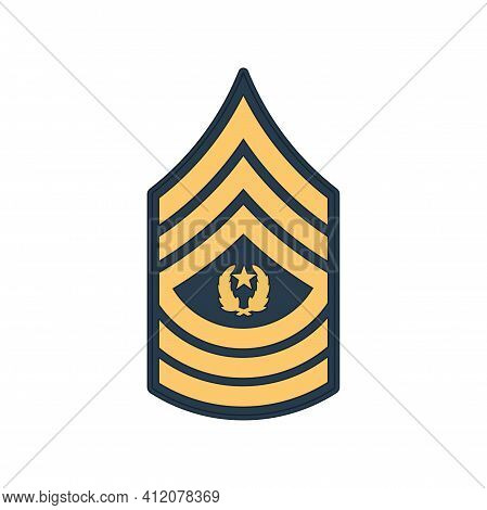 Sma Sergeant Major Of Army Insignia Of Us Forces Isolated Icon. Vector Rank Of Non-commissioned Offi