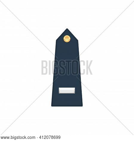 Marine Officer Military Rank Of First Lieutenant Isolated Stripe On Uniform. Vector Insignia Of Sold