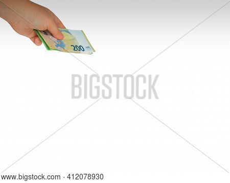 Closeup Hand Extended From Top To Bottom,giving Money,two,one Hundred Euro Bill Wad,white Background