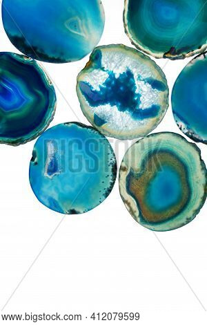 Agate Blue Set. Slices Of Stone Isolated On White Background. Agate Pattern In Blue Tones.texture Of