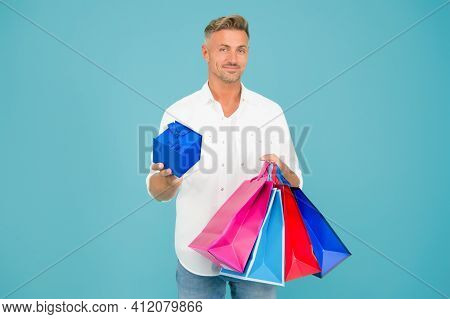 Good Shopping For Good Gift. Happy Man Hold Box And Shopping Bags. Gift Shop. Sale And Shopping. Buy